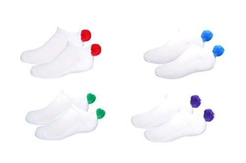 Pom Pom Socks & Shoelaces Girls (4 Pair) Youth - Lowcut Ped Socks Pom-Pom Athletic Socks - Fits Shoe Size: 9-3 (Kids)