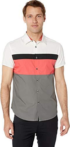 Kenneth Cole New York Men's Short Sleeve Color Block Logo Shirt Cayenne Medium