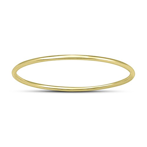 Skinny Thin Domed Stackable 14K Yellow Gold Band (.75 mm) ()