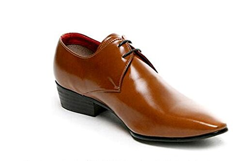 Happyshop(TM) Men's Leather Lace up Pointy Toe Oxford Shoes Fashion Bright Color Casual Work Dress Business Shoes Brown R4tVsGWRIK