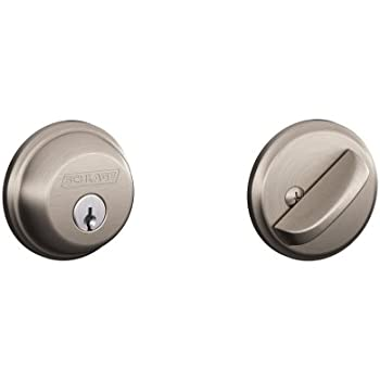 Pack of 2 Schlage B81619 Satin Nickel Single Sided Residential Deadbolt with Thumbturn and Outside Trim Plate from The B-Series