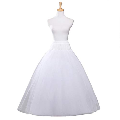 VeMee A-line Hoopless Petticoat Crinoline Underskirt Slips Floor Length for Bridal Wedding Dress