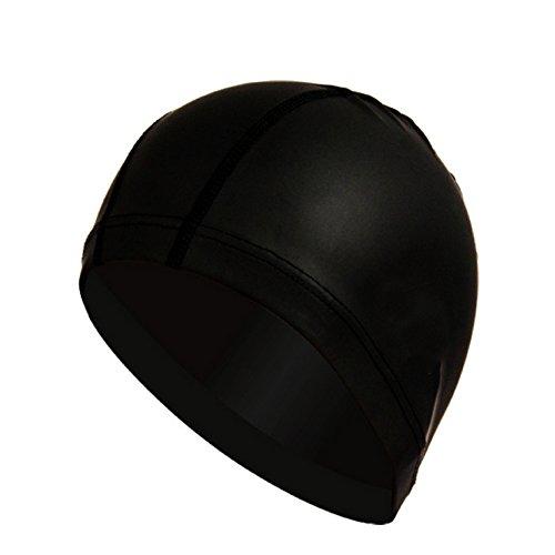 Hrph Elastique Etanche PU Tissu Bonnet de Natation Picsine Protecteur Oreilles Piscine Cap Long Sport Cheveux Bonnet de Bain pour Hommes et Femmes Unisex Adultes