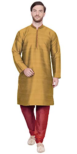SKAVIJ Men's Tunic Kurta Pajama Set Traditional Dress (X-Large, Brown)