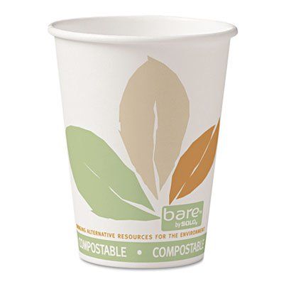 Bare PLA Paper Hot Cups, 12oz, White w/Leaf Design, 50/Bag, 20 Bags/Carton, Sold as 20 Package