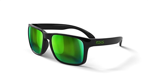 REKS Unbreakable SPORT Sunglasses, Anti-Reflective Lens (Satin Touch Black, Green - Green Sport