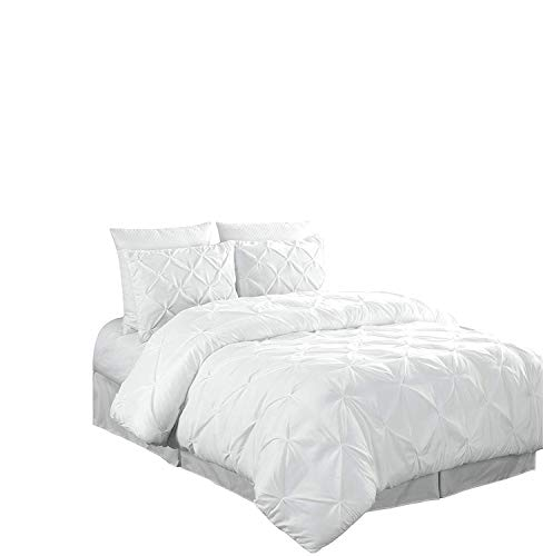 Bassett Cottage Collection - Chezmoi Collection Berlin 3-Piece Pintuck Pinch Pleat Comforter Set (Queen, White)