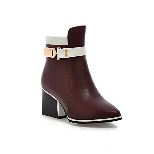 Ladola Girls Chunky Heels Buckle Winkle Pinker Claret Imitated Leather Boots - 7.5 B(M) US -