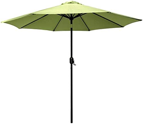 ABBLE Outdoor Patio Umbrella 9 Ft Stripe with Crank and Tilt, Weather Resistant, UV Protective Umbrella, Durable, 8 Sturdy Steel Ribs, Market Outdoor Table Umbrella – Lime Green