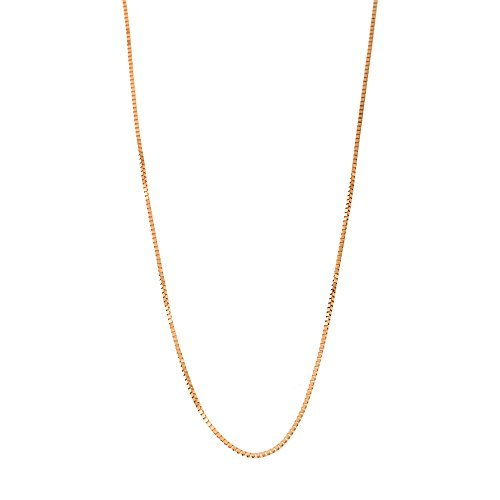 (10k Rose Gold Italian 0.50mm Box Chain Necklace, 20