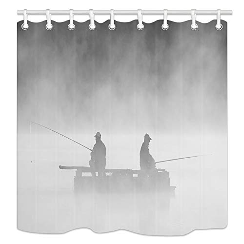 (NYMB People Fishing Silhouettes in The Fog Shower Curtain, Polyester Fabric Fisherman Bathroom Fantastic Decorations Nautical Fishing Bath Curtains Hooks Included)