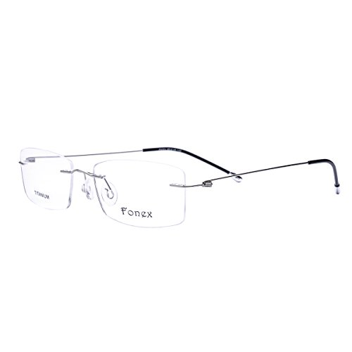 FONEX Screwless Rimless Memory Titanium Alloy Prescription Glasses Optical Frame 9201 (Silver, - Frames Rimless