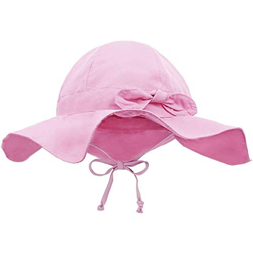 Kehen- Kids Toddler Girl Boy Safari Sun Hat Breathable Bucket Hat Summer Play Hat Pink 2-4T