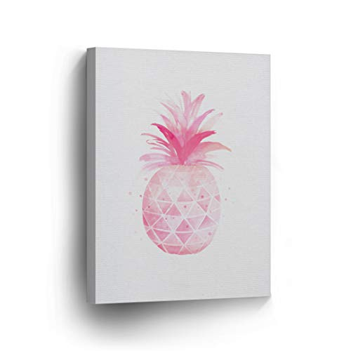 Pineapple Decor Pink Tropical Fruit Canvas Print Tropical Home Decor Living Room Kitchen Decor Wall Art Framed - Ready to Hang -%100 Made in The USA - 12x8