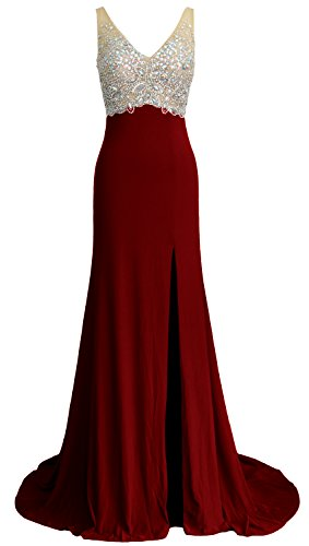 Mermaid Jersey Dress Burgunderrot MACloth Party Neck Evening Gown Prom V Elegant Long Formal gYAwqS05w