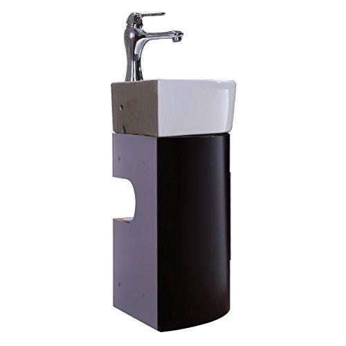 Corner Wall Mount Bathroom Vanity Sink Faucet And Drain Combo White Sink With Black Vanity