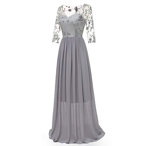 AgrinTol Women Lace Chiffon Dress Formal Long Prom Evening Party Cocktail Dress Bridesmaid Gown Gray