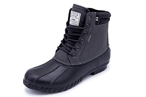 Nautica Mens Duck Boots – Waterproof Shell Insulated Snow Boot – Channing-Charcoal/Black-12
