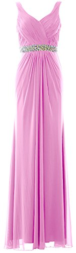 MACloth Women Sheath Long Prom Dress Straps V Neck Wedding Evening Formal Gown Rosa