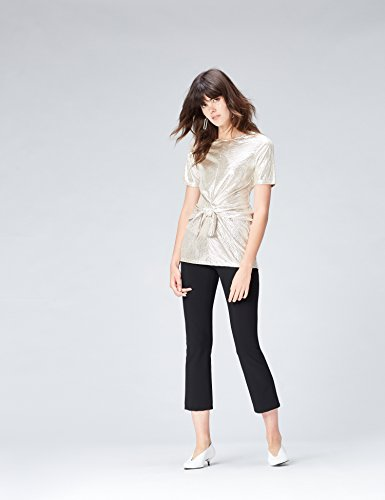 FIND Metallic Twisted Front, Camiseta Para Mujer Rosa (Champagne)