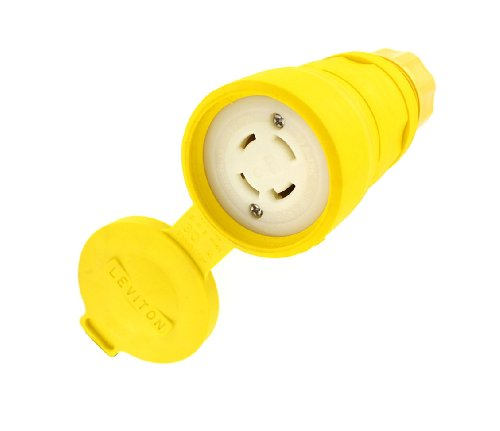 Leviton 29W74 30 Amp, 125/250 Volt, Locking Connector, Industrial Grade, Grounding, Wetguard, Yellow (Wetguard Connector)