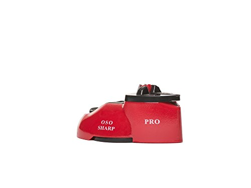 OSO Sharp pro knife and scissor sharpener with suction cup for easy one handed use,perfect for straight and serrated knives with dedicated slot for scissor sharpening. ( red )