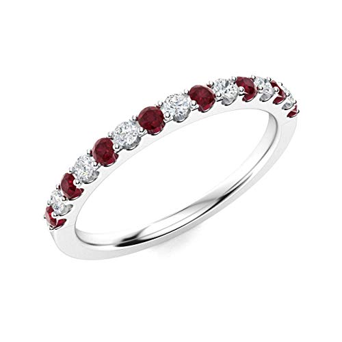 (Diamondere Natural and Certified Ruby and Diamond Wedding Ring in 14K White Gold | 0.38 Carat Half Eternity Stackable Band for Women, US Size 6.5)