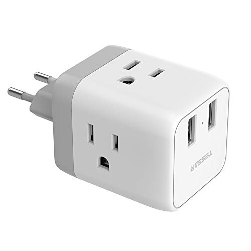 European Adapter, TESSAN European Travel Plug Adapter with 2 USB Ports, International Travel Europe Power Adapter, US to Europe Plug Adapter for France Italy Germany Iceland (Type C)