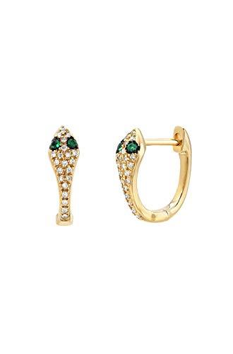 Diamond Snake Huggie earrings, Zoe Lev Jewelry, 14k solid gold, pave diamond