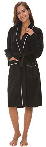 Kiddom Women Pajamas Robe Bathrobe Spa Trim Fleece Loungewear Long Kimono Sleepwear with Pockets