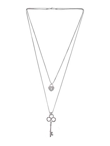 Efulgenz Trendy Stylish Fancy Party Wear Double Layered Long Chain Lock and Key Pendant Lariat Y Necklace Fashion Costume Accessories for Women and -