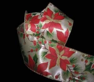 (10 Yards Christmas Poinsettia Flower Gold Glitter Ivory Satin Wired Ribbon 2 1/2 Florist, Flowers, Arts & Crafts Gift Wrapping)