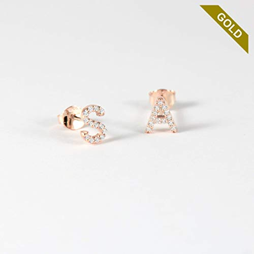 1c8f10e5bd3456 14k Solid Gold Mini Letter Stud with Stones - Gold Initial Earrings - Alphabet  Earrings - Tiny Studs - Letter Earring - Letter Studs - Personalised initial  ...