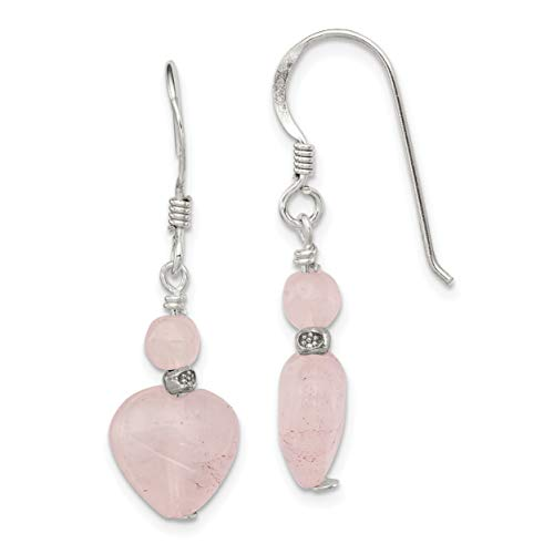 Sterling Silver Rose Simulated Quartz Heart Earrings (Approximate Measurements 29mm x 10mm)