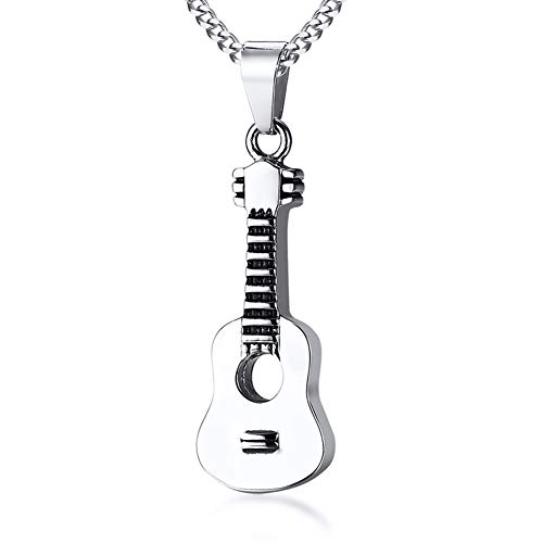 HUANIAN Stainless Steel The Guitar Urn Necklace for Keepsake Memorial Cremation Jewelry,Unisex,19.6