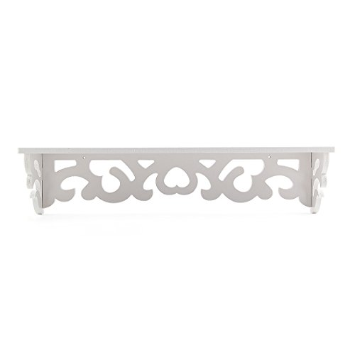 SODIAL(R) Set of 2 White Shabby Chic Filigree Style Shelves Cut Out Design Wall Shelf Home by SODIAL(R) (Image #2)