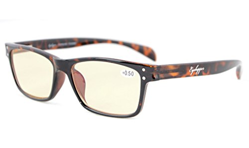 138 Eyeglasses - Eyekepper Readers Quality Spring-Hinges Sport Style Computer Reading Glasses Computer Glasses Eyeglasses (Tortoiseshell, Yellow Tinted Lenses) +1.5