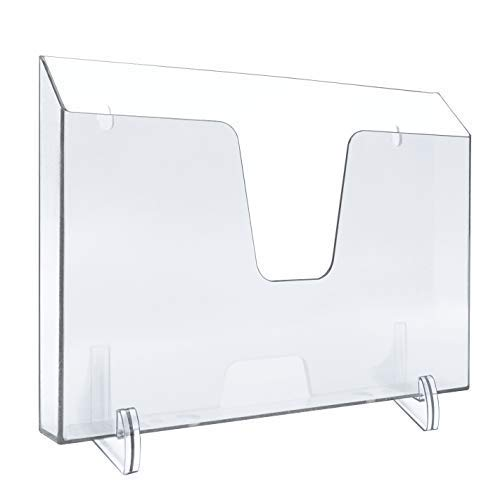 Acrimet Pocket File Holder Horizontal Design Brochure Display (for Wall Mount or Countertop Use) (Removable Supports Included) (Letter Size) (Clear Crystal Color)