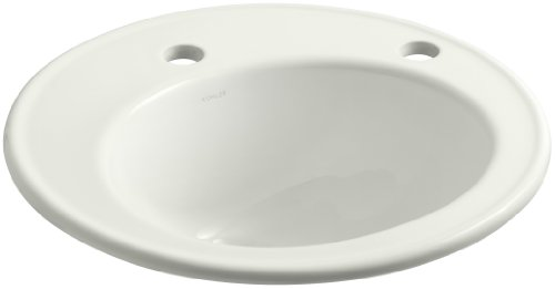 KOHLER K-2202-1R-NY Brookline Self-Rimming Bathroom Sink with Single-Hole Faucet Drilling and Right-Hand Soap/Lotion Dispenser Hole Drilling, Dune (Brookline Self Rimming Bathroom Sink)