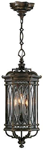 EuroLuxHome Lantern Warwickshire Large 4-Light Dark Patina Beveled Leaded Glass Metal - Leaded Beveled Glass