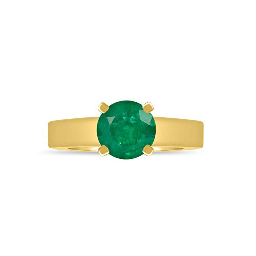 - Craft On Jewelry Simulated Emerald Birthstone Cathedral Solitaire Engagement Wedding Ring Gift for Women Girl 14k Yellow Gold Finish