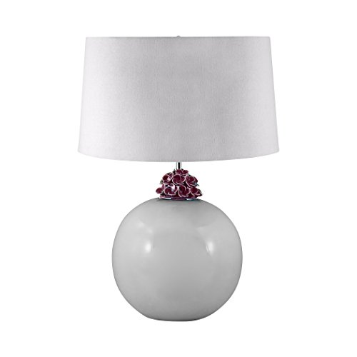 - Illuminati Collection Ceramic Ball Table Lamp In White And Amethyst