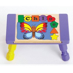 - babykidsbargains Personalized Butterfly Puzzle Stool - Color: Primary Puzzle with Primary Purple Stool