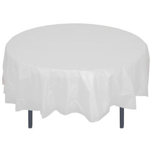 6-Pack Premium Plastic Tablecloth 84in. Round Plastic Table cover - White -