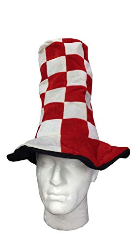 FNA FASHIONS Unisex Red White Wacky Hat Long Tall Hats Christmas Fancy Dress Accessory -