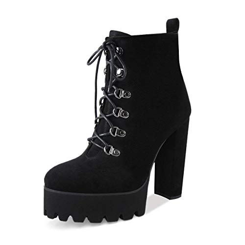 Onlymaker Women's Lace Up Ankle Boots Platform Round Toe Chunky High Heel Suede Ankle Booties Black 6 M US