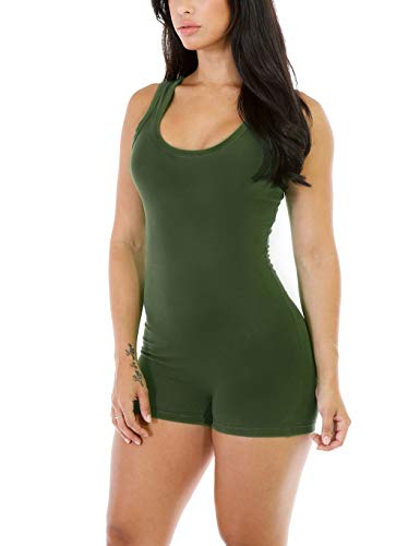 Amilia Sexy Sleeveless Tank Tops Short Romper Sports Jumpsuit Bodysuit One Piece Short Catsuit (M, Army -