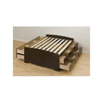 this item espresso tall full captains platform storage bed with 12 drawers - Bed Frames With Storage Full