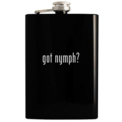 got nymph? - Black 8oz Hip Drinking Alcohol Flask
