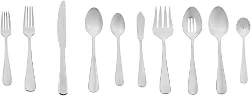 AmazonBasics 45-Piece Stainless Steel Flatware Silverware Set with Round Edge, Service for 8 ()